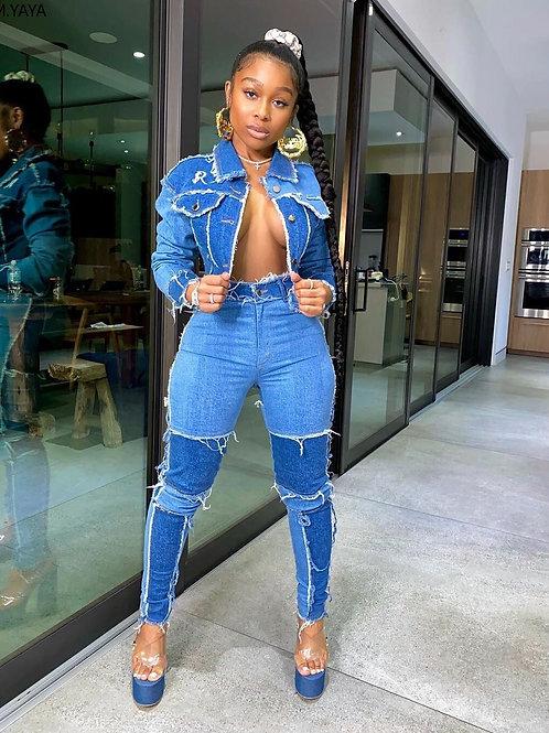 Women Denim Patchwork Jackets Jeans Pants Suit  Two Piece Set