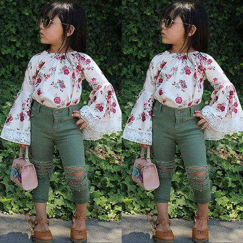 US 2PCS Infant Kids Baby Girl 18m-6y Floral Dress Top+Denim Pants Clothes Outfit