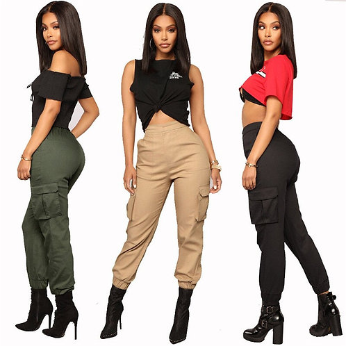 Fashion High Waist Cargo Pants Women Loose Joggers With Pockets
