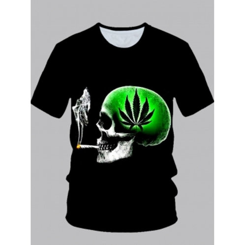 Men Lovely Street O Neck Print Green T-shirt