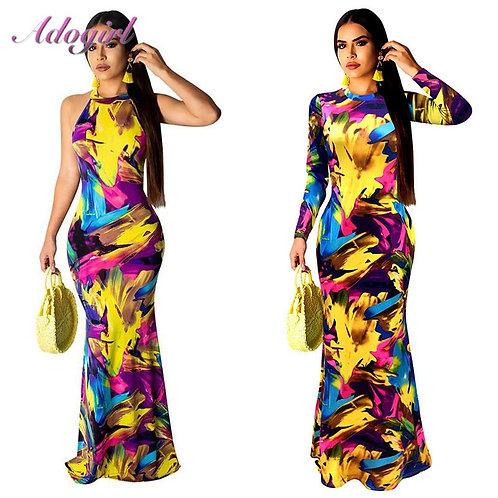 Elegant Women Boho Floral Print Halter Spring Banquet Long Dress