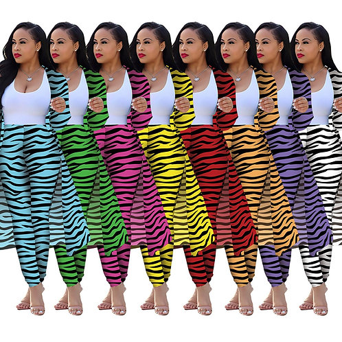 Colorful Striped Sexy 2 Piece Set Sweatsuit Women Clothes