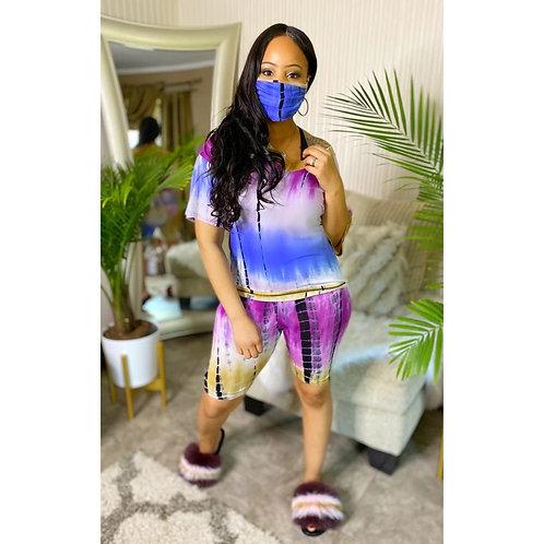 Women Tracksuit Two Pieces Set Mask Short Sleeve v Neck Top Short Pants