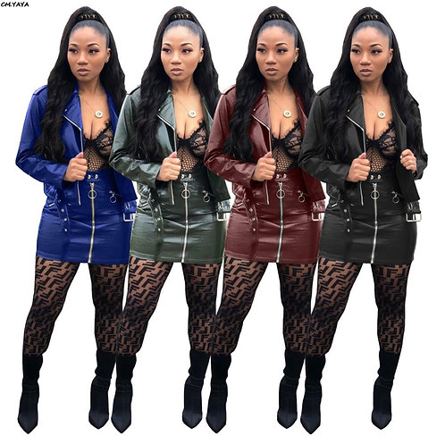 Women New Mote Biker Faux Leather  Long Sleeve Mini Skirts Two Pieces Sets