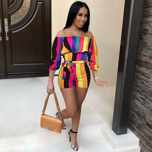 Ruffle Off Shoulder Sexy Playsuit Strip Backless One PieceOutfit  Jumpsuit
