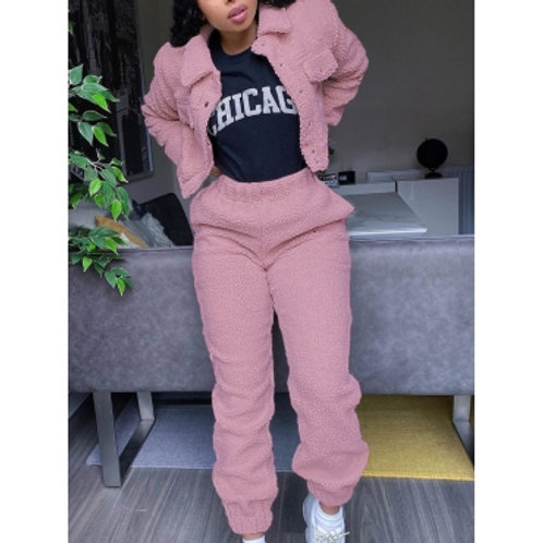 Stylish Turndown Collar Pocket Patched Pink Two Piece Pants Set