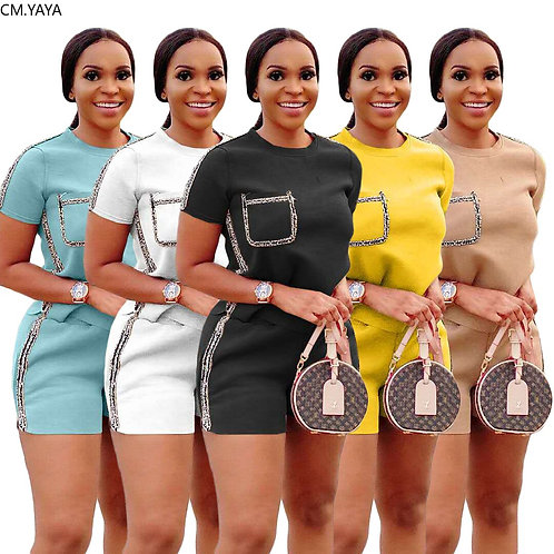 Women Two Pieces Sets Summer Tracksuits Short Sleeve O-Neck Tops+Jogger Shorts