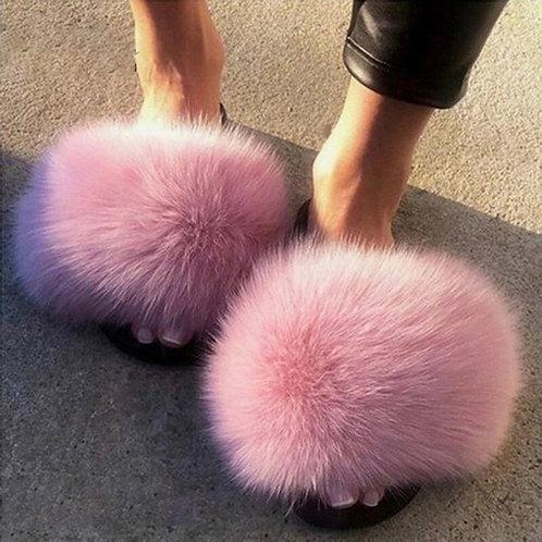 Women Furry Slippers Ladies Shoes Cute Plush Fox Hair Fluffy Sandals