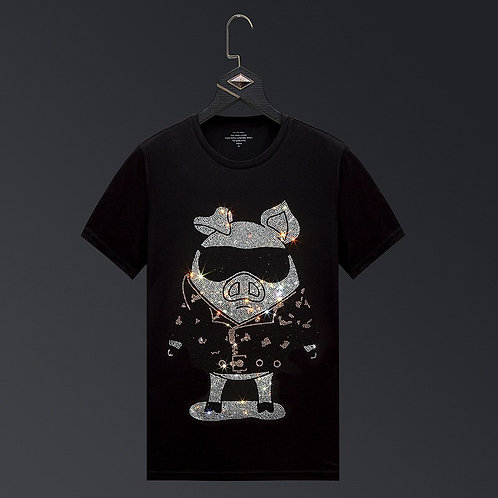 Plus Size 6XL Pig Rhinestones T Shirt Men