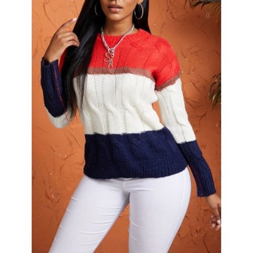 Leisure O Neck Patchwork Red Sweater
