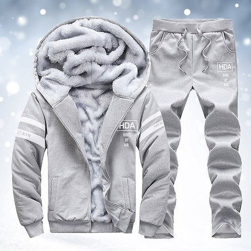 Men's Winter Warm Sporting Fleece Lined Hoodie and Sweatpant Set
