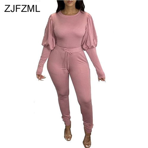 Solid Drawstring Two Piece Tracksuits Women Sportswear