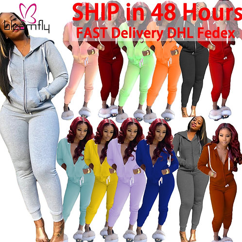 Casual Tracksuits Women Long Sleeve Zipper Hoodies Coats and Bodycon  Two Piece