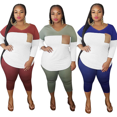Plus Size XL-4XL Sets Tracksuits Top+Pants Suit Two Pieces