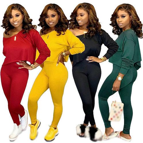 Elegant Woman Plus Size Clothing Set Casual Womens Off Shoulder Long Sleeve