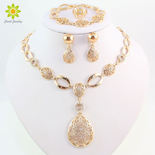 Fashion Vintage Clear Crystal Gold Coor African Bridal Costume Jewelry Sets