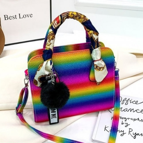 Trendy Rainbow Print Multicolor Crossbody Bag