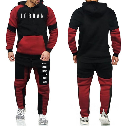 Tracksuit Warm and Velvet Men Sport Patchwork Set Hoodie