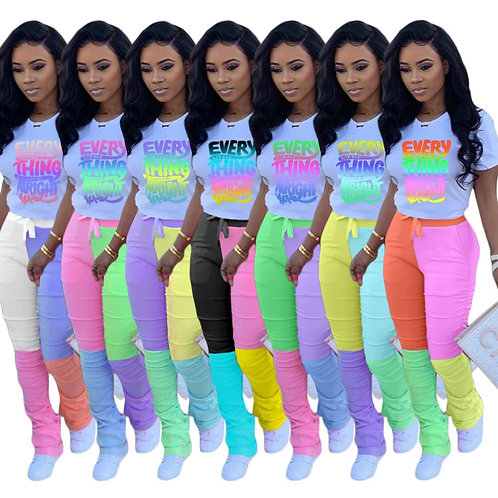 Women Letter Print Tee Tops Patchwork Stracked Bell Bottom  Sweatpant Suit