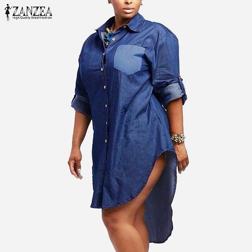 Women Vintage Denim Dress Lapel Long Sleeve Shirts