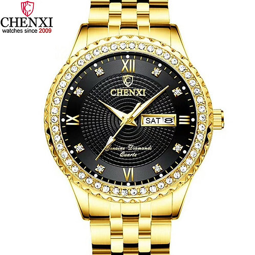 Men Gold Watches Golden Stainless Steel Waterproof Male Watch