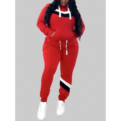 Sportswear Hooded Collar Patchwork Red Plus Size Two-piece Pants Set