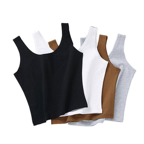 Women Sexy Cotton Crop Top Crop Bustier Multicolor Sleeveless  Vest Tank Top