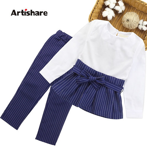 Girls Clothes Set Patchwork Shirt Dress + Striped Pants 2PCS