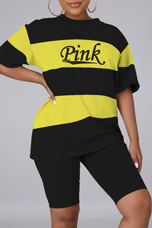 Fashion Casual Letter Print Basic O Neck Short Sleeve Two Pieces