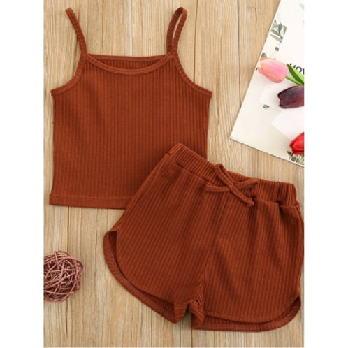 Casual Rib-Knit Bow-tie Decoration Brown Girl Two Piece Shorts Set