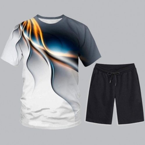 Men Casual O Neck Print Black Two-piece Shorts Set