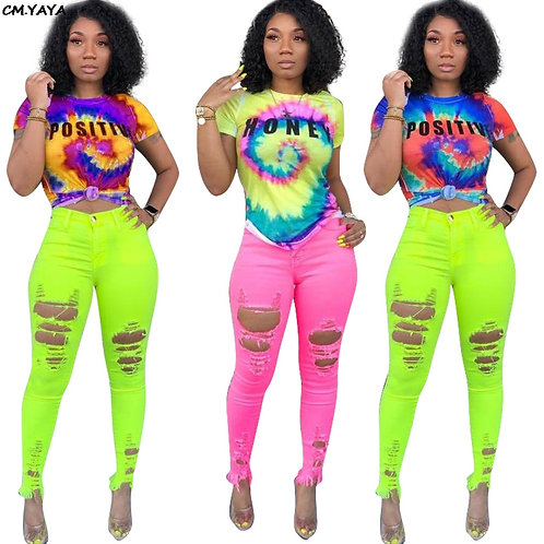 Women Galaxy Letter Tie Dyed 3d Design Print Short Sleeve Tee Top Fashion