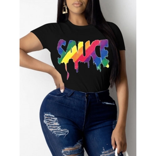 Lovely Casual O Neck Letter Print Black Plus Size T-shirt