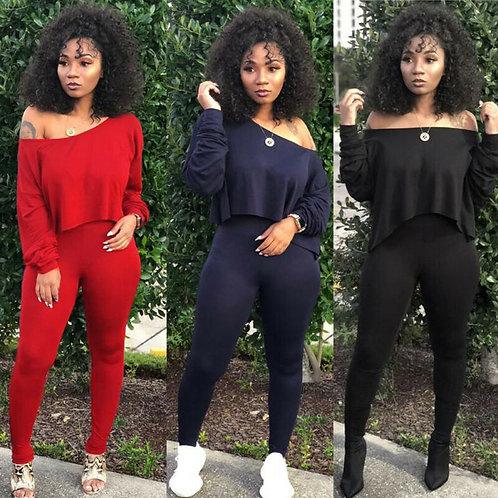 Women Sets Red Black Yellow 2 Pcs Sweatsuit Cotton Summer Pullover