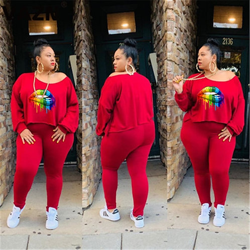 Plus Size  4 Color Full Sleeve Top Long Pants Slim Women 2 Piece Set