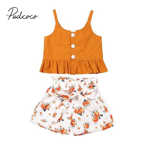 Toddler Kids Baby Girl Summer Vest Tops T-Shirt Shorts