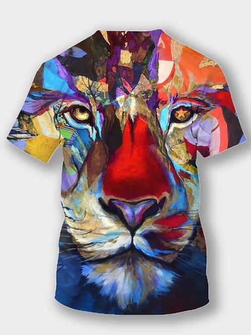 Boy Casual O Neck Tiger Print Multicolor T-shirt