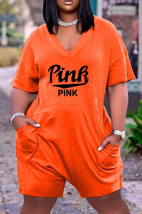 Fashion Casual Letter Print Basic V Neck Loose Short Sleeve Romper