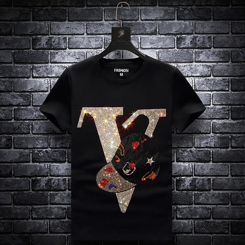 Letter Rhinestones T Shirts Men Brand Short Sleeve Fashion
