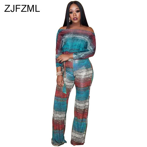 2 Piece Outfits for Women Slash Neck Full Sleeve Matching Set
