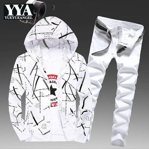 Mens Spring Hooded Sweatshirt Two Piece Set