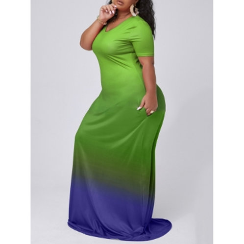Casual V Neck Gradient Green Maxi Plus Size Dress