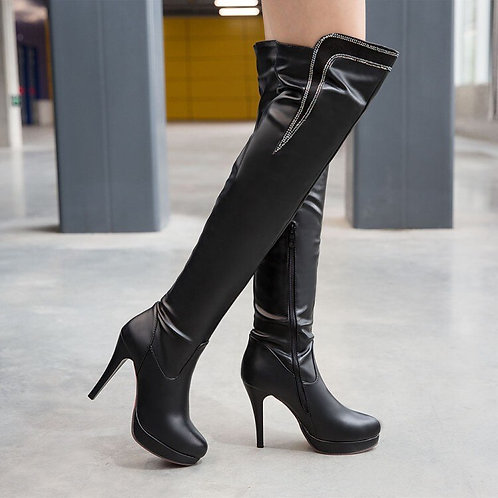 High Heel Boots  Heels Boots Round Toe Thin Heel Leather Boots 7155