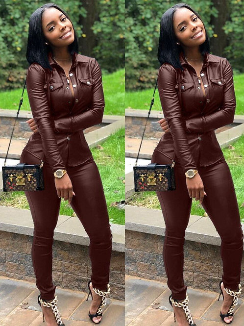 Casual Women Set Tracksuit Long Sleeve Two Piece Sets Leather Outfits Plus Size