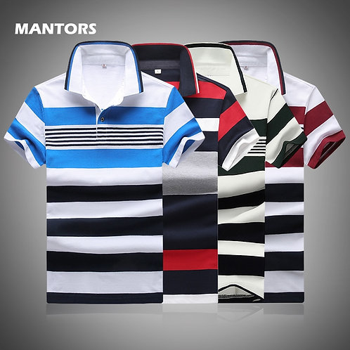 Polo Shirt Men's Striped Cotton Polo Shirts