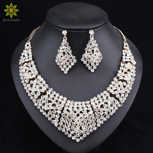 Jewelry Gold Color Crystal Rhinestones Necklace and Earring  Sets