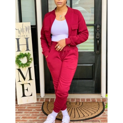 lovely Stylish Pocket Patched Zipper Design Red Two Piece Pants Set