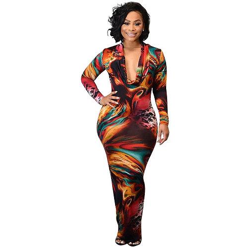 Women Sexy Maxi Dresses Long Sleeve Skinny Printed Dress