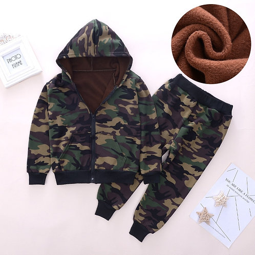 Boys Girls Warm Clothing Military Camouflage Sets Hooded Coat + Pants