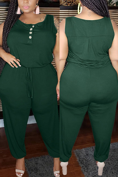Fashion Casual O Neck Sleeveless Spaghetti Strap Solid Plus Size Jumpsuit
